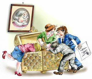 Arv fördelas i enlighet med lag om det inte finns ett testamente.
